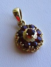 LOVELY 14KT YELLOW GOLD & GARNET DELICATE TINY ROUND PENDANT-NO CHAIN-1960s