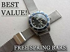 22MM STAINLESS VINTAGE DIVERS MESH BRACELET WATCH STRAP SEAMASTER SEIKO CITIZEN*