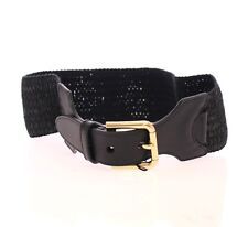 NWT $250 DOLCE & GABBANA Black Leather Stretch Logo Belt s.65 cm / 26 inch
