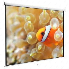 """White 119"""" 1:1 Projection Screen Manual Pull Down Home HD Movie Theater Matte"""