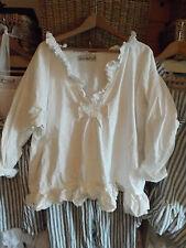Osfa ritanotiara magnolia bow coton grande taille perle blanche prairie top shirt