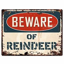 PP1345 Beware of REINDEER Plate Rustic Chic Sign Home Room Store Decor Gift