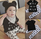 Infant Baby Boy Girl Summer T-Shirt Tops Clothes+Pants Sets Outfits 0-6 Months