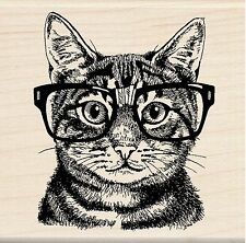 Cat With Glasses Nerdy Cat Wood Mounted Rubber Stamp INKADINKADO 60-01220 NEW