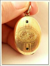 SUPERB 1920's ART NOUVEAU OVAL GOLD F & BLUE RHINESTONES PHOTO LOCKET PENDANT !