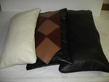 "NEW STAR PATCH GENUINE LEATHER LUMBAR PILLOW COVERS - 9""x18"" -CHOICE OF COLORS!"