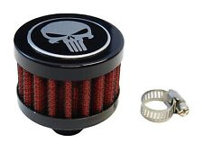 9MM SKULL PUNISHER JDM  RACING MINI AIR OIL BREATHER FILTER - RED