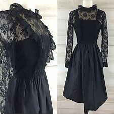 Vintage 70s black nude lace long sleeve party dress LBD goth S