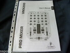 Behringer VMX 200 Owner's manual Mode D'emploi Istruzioni User's Manual