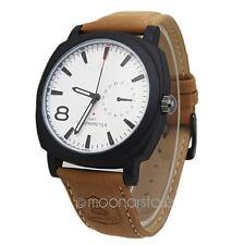 Bianco/nero uomo orologi sport militare quarzo pelle cinturino orologio da polso