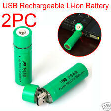 2PCS 18650 3.7V 3800mAh USB Rechargeable Li-ion Battery For Flashlight Torch