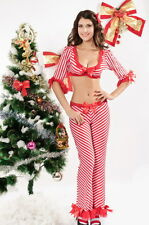 Sexy Women's Red & White Striped Christmas Candy Cane Fancy Dress Costume