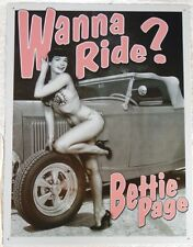 Bettie Page Pin Up Girl Wanna Ride Hot Rod Vintage Advertising Tin Sign  #1791