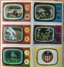 Fujeira 1972 ** Mi.890/94 A Zdr. Weltraum Space Apollo 16 MNH Intact Block of 6