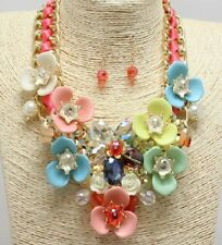 Gold and Multi Colored Floral FASHION Necklace Set