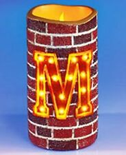 FLAMELESS MONOGRAM INITIAL MARQUEE BRICK-LOOK CANDLE IN LETTER- M-