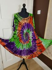 Hippie Tunic Tie Dye Embroidered Top Dress Boho Beach Kaftan Short Sleeve(14-28)
