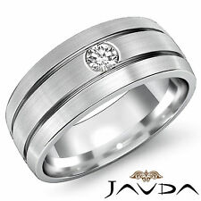 7mm Mens Solitaire Round Diamond Half Wedding Band 14k White Gold Ring 0.15Ct
