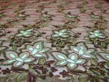 embroidery lace fabric with beads on polyester mesh, 10 colors, 54inch width
