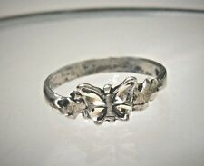 Black Hills Signed Sterling Silver Butterfly Band Ring Sz 6 1/2