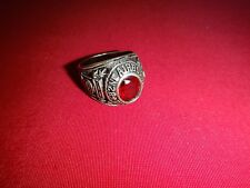 US 82nd AIRBORNE DIVISION Silver Ring With A Red Stone, Size 10