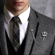 Men's Crystal Rhinestone Crown Tassel Chain Brooch Lapel Pin Brooches Gift