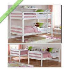 Twin Over Twin Bunk Beds for Kids Girls Boys Teens Convertible Bunkbeds, White