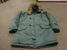 ALPHA INDUSTRIES JACKET PARKA HOODIE FUR SZ L MEN HUNTING MILITARY GREEN