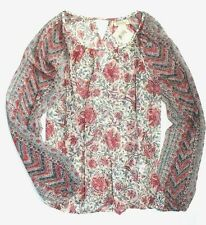 Lucky Brand - M - NWT $59 - Whimsical Pink Floral Sheer Keyhole Peasant Top