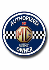 MG MIDGET AUTHORIZED OWNER METAL ROUNDEL SIGN.CLASSIC MG CARS.VINTAGE MG CARS.