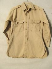 S5915 Vintage 1950s Men's M est. Khaki Shirt With Flaming Sword Of Freedom Patch
