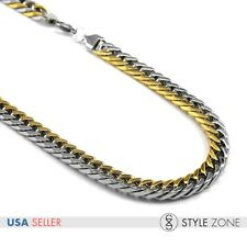 """24"""" 10mm Stainless Steel Silver Gold Tone Cuban Curb Link Chain Necklace Punk M6"""
