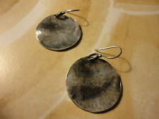 SILPADA STERLING SILVER OXIDIZED DISC EARRINGS ** RETIRED ** W1666 **RARE *