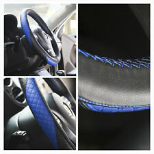 SPORT STYLE BLUE STITCH STEERING WHEEL WRAP BLACK RED LEATHER COVER 87012Cc