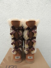 UGG CHESTNUT TALL BAILEY BOW TRIPLET SUEDE/ SHEEPSKIN BOOTS, US 7/ EUR 38 ~NEW