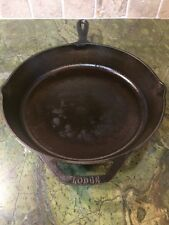 VINTAGE CAST IRON SKILLET Cooking Pan By LODGE 10SK 12 INCH ROUND with 2 Handles
