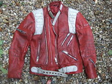 "Motorcycle ROCKERS jacket HEIN GERICKE red 40"" chest 10 ZIPS ! cool & classic"