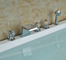 Widespread Crystal Knobs Bathtub Faucet Waterfall Spout with Hand Shower Chrome