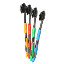 UN3F 4PCS Double Ultra Soft Toothbrush Bamboo Charcoal Nano Brush Oral Care
