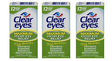 (3 PACK) Clear Eyes Maximum Itchy Eye Relief Drops - 0.5 oz  Dry Burning Red