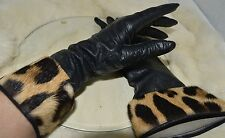VTG French Kislav Kid Black Leather & Animal Print FurTrim Gloves 6 1/2 Washable