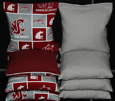 8 ALL WEATHER CORNHOLE BEANBAGS made w Washington State Cougars Fabric