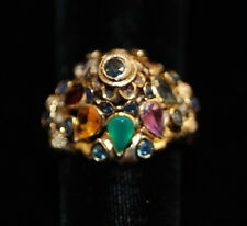 Vintage 18K Gold Harem Princess Dome Sapphire Ruby Ring - Size 5.5 & 5.4 grams A