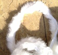 1m white genuine real rabbit fur pelt strip trim fabric craft clothes hood cuff