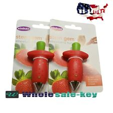 2X Strawberry Berry Stem Gem Leaves Huller Remover Fruit Corer Kitchen Tool RED
