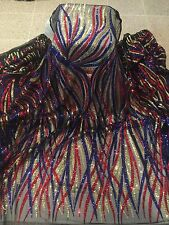"""BLACK MESH W/GOLD RED ROYAL SEQUIN LACE FABRIC 52"""" WIDE 1 YARD"""