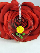 Vintage Acrylic Yellow Rose Heart Necklace FERAL CAT RESCUE