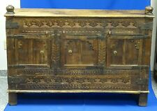 FABULOUS DISTRESSED CARVED WOOD INDIAN CABINET with METAL TRIM WORK FIXTURE