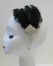 Black & Silver Diamante Feather Fascinator Headband Vintage 1920s Flapper X-22