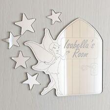 Fairy & Fairy Door Mirror Personalised Door Name Plaque Boy Girls Bed Room Sign
